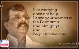 Quote by Dr. Aniruddha Joshi Aniruddha Bapu on Worries Parmatma Almighty in photo large size