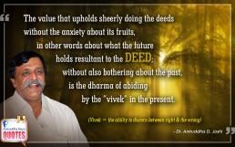 Quote by Dr. Aniruddha Joshi Aniruddha Bapu on Deed Vivek in photo large size